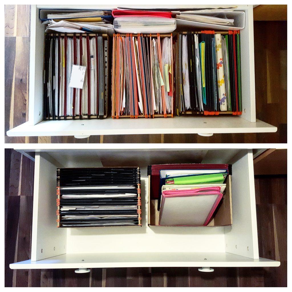 Vorher-Nachher-Foto Schublade Unterlagen Schreibtisch organisieren