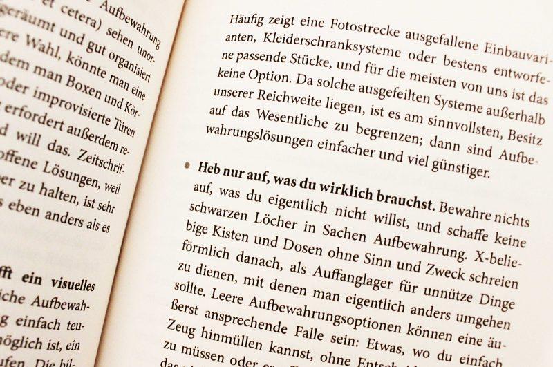 """Ausschnitt aus dem Buch """"Aufräumen für Faule"""" von Racher Hoffman"""