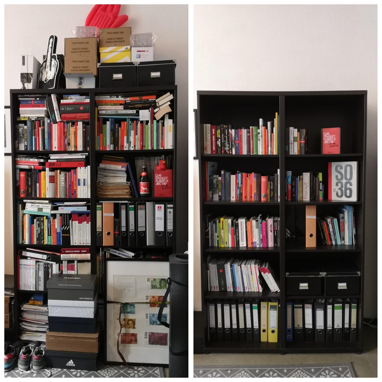 Bücherregal vor und nach dem Professioal Organizing