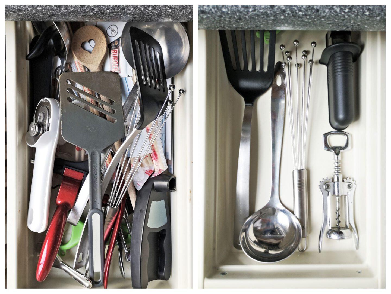 Vorher-Nachher-Foto neu organisierte Küche